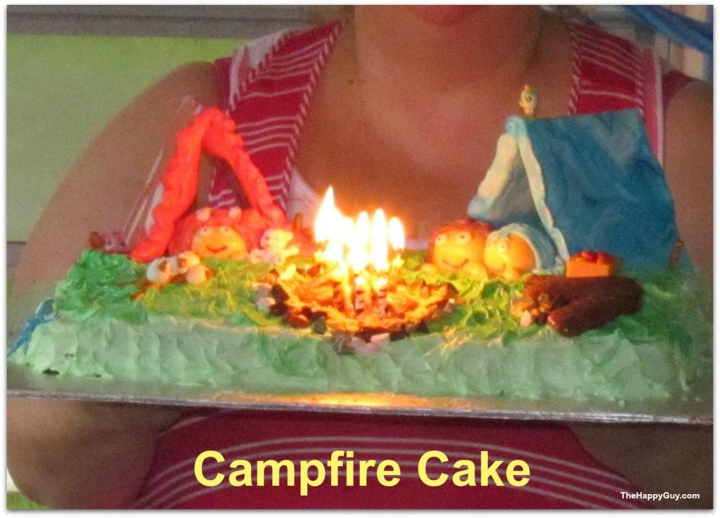 Campfire cake - a cake on fire!