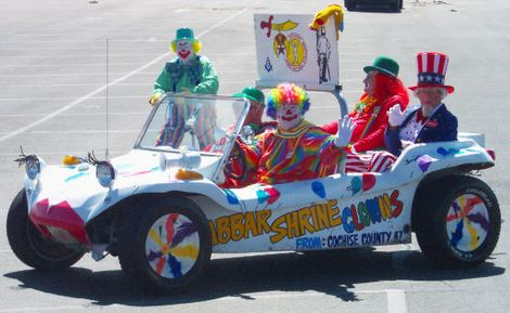 Funny clowns in car