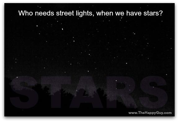 Stars and street lights