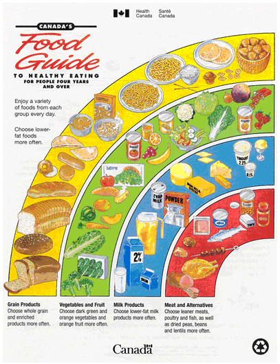 1997 Canada food guide cover, with the four food groups in Canada