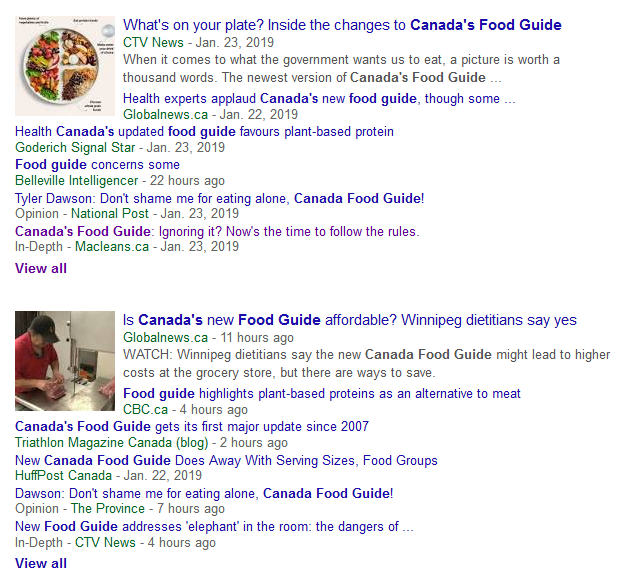 Canada's food guide in the news